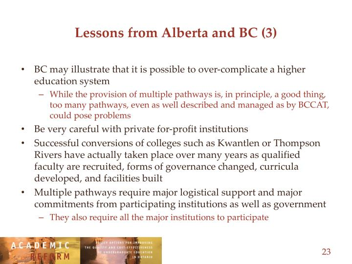 Lessons from Alberta and BC (3)