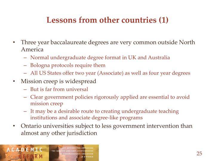 Lessons from other countries (1)