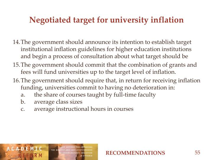 Negotiated target for university inflation