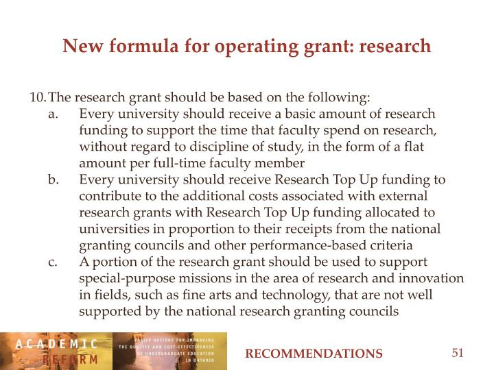 New formula for operating grant: research