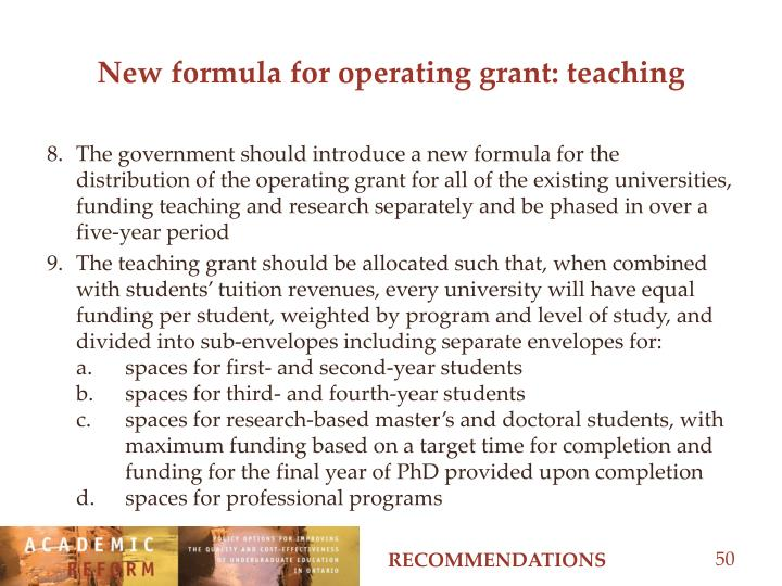 New formula for operating grant: teaching