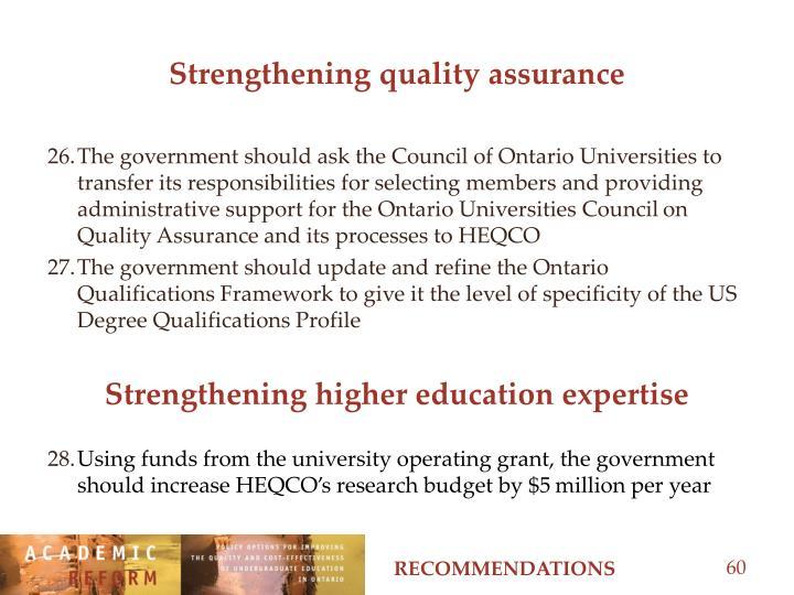 Strengthening quality assurance