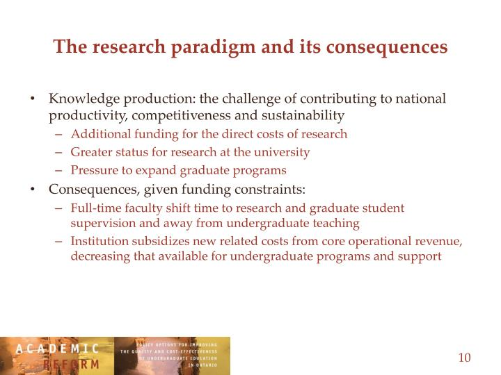 The research paradigm and its consequences