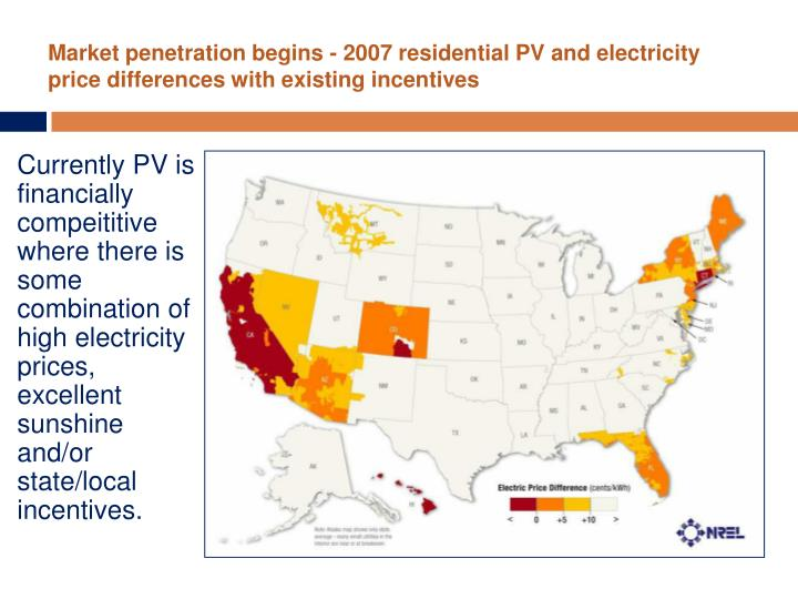 Market penetration begins - 2007 residential PV and electricity price differences with existing incentives