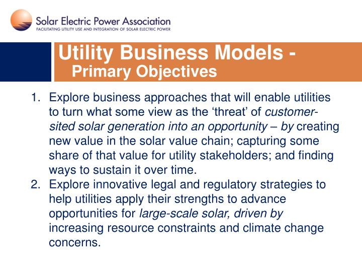 Utility Business Models -