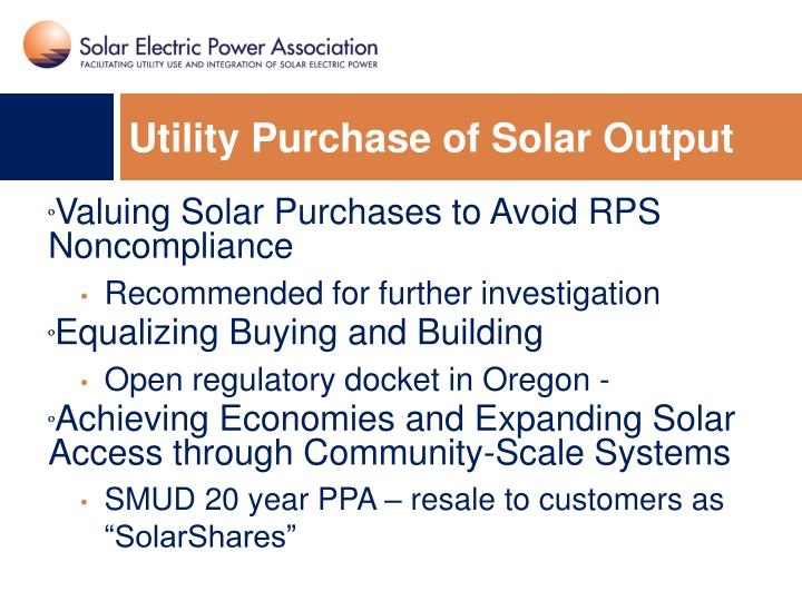 Utility Purchase of Solar Output