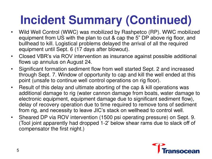 Incident Summary (Continued)