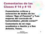comentarios de las clases 14 y 15