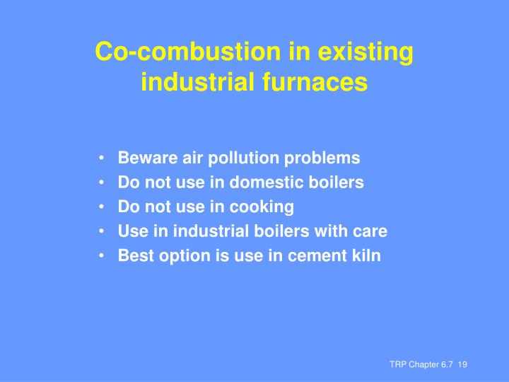 Co-combustion in existing industrial furnaces