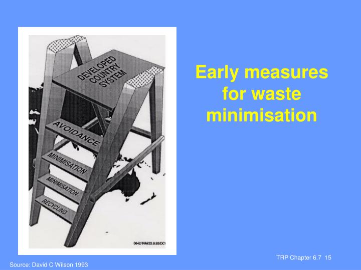 Early measures for waste minimisation