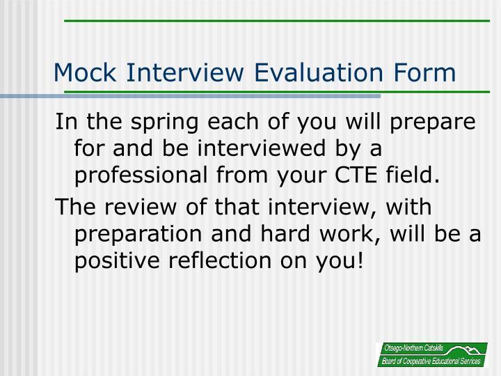 Mock Interview Evaluation Form