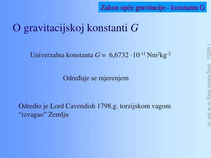 Zakon opće gravitacije - konstanta G