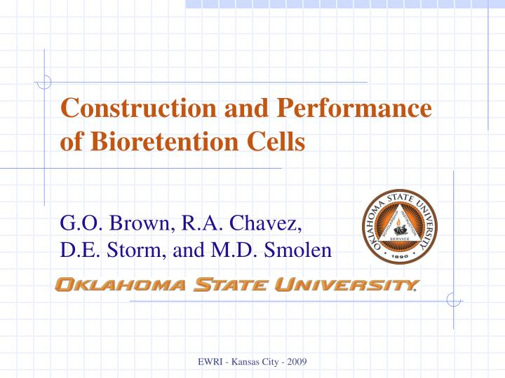 construction and performance of bioretention cells n.