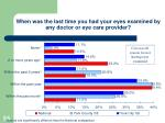 when was the last time you had your eyes examined by any doctor or eye care provider
