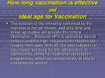 how long vaccination is effective and ideal age for vaccination