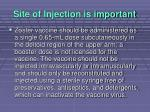 site of injection is important