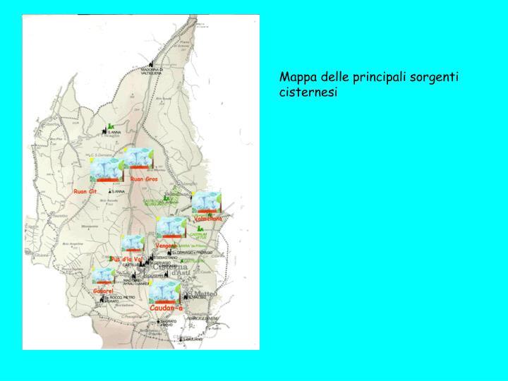 Mappa delle principali sorgenti cisternesi