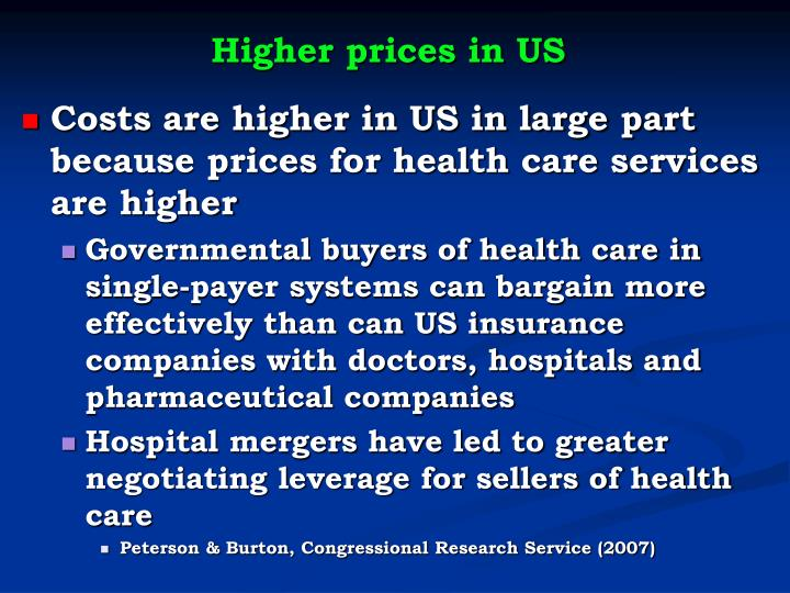Higher prices in US