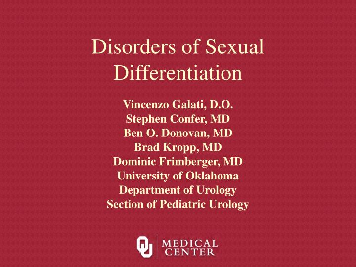 disorders of sexual differentiation n.