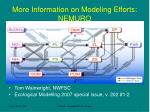 more information on modeling efforts nemuro
