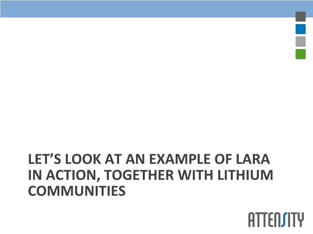 Let's look at an example of LARA in action, Together with Lithium Communities
