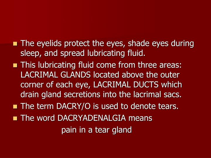 The eyelids protect the eyes, shade eyes during sleep, and spread lubricating fluid.