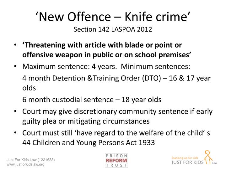 'New Offence – Knife crime'