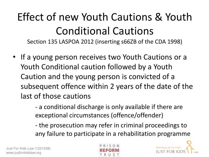 Effect of new Youth Cautions & Youth Conditional Cautions