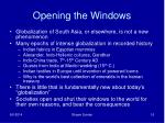 opening the windows