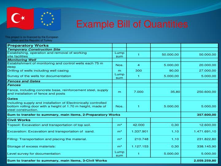 Example Bill of Quantities