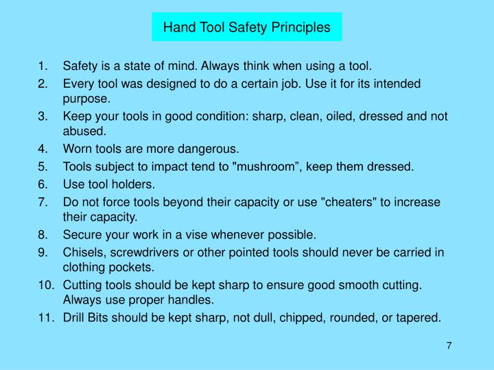 Hand Tool Safety Principles
