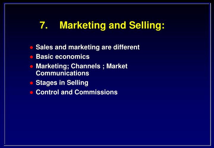 7 marketing and selling n.