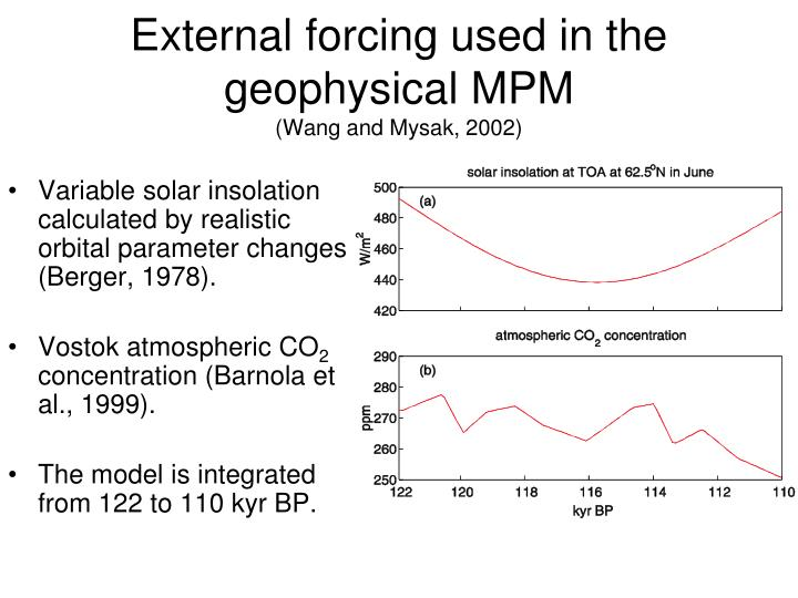 External forcing used in the geophysical MPM