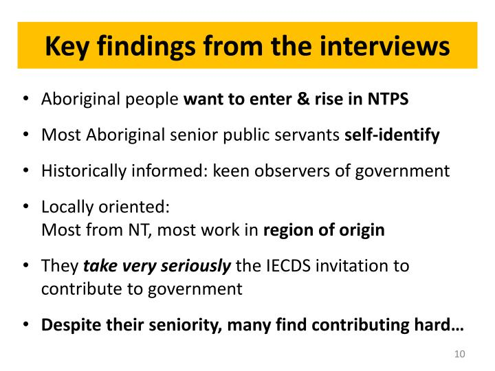 Key findings from the interviews