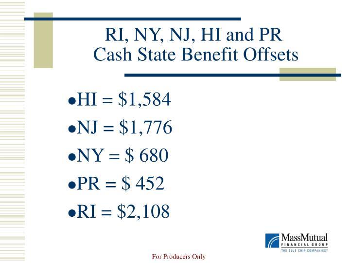 RI, NY, NJ, HI and PR