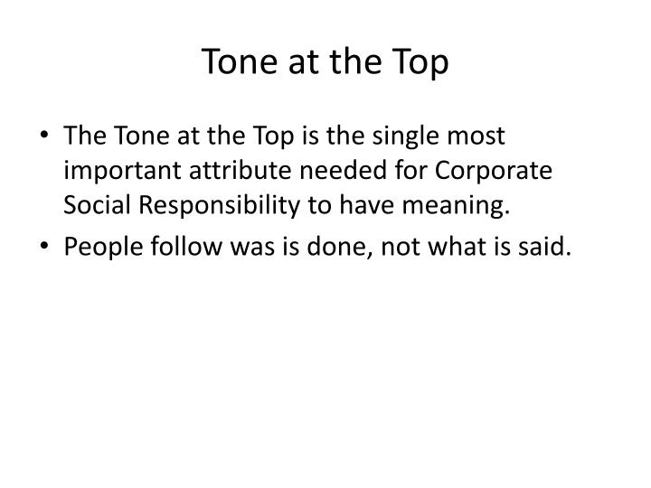 Tone at the Top