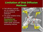 limitation of disk diffusion methods