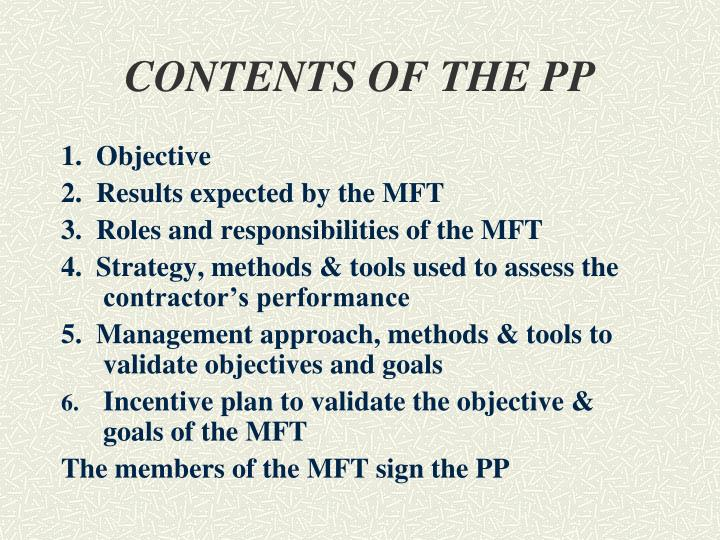 CONTENTS OF THE PP