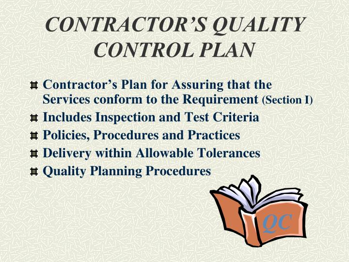 CONTRACTOR'S QUALITY CONTROL PLAN