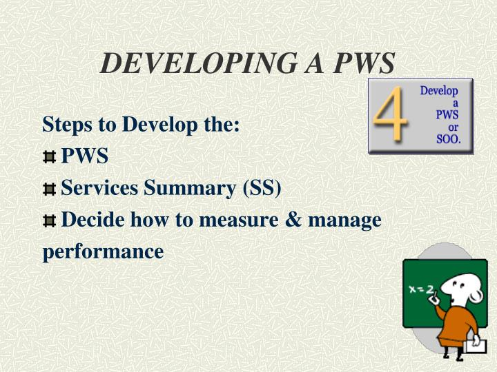 DEVELOPING A PWS