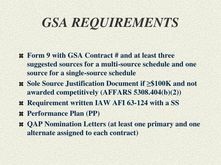 GSA REQUIREMENTS