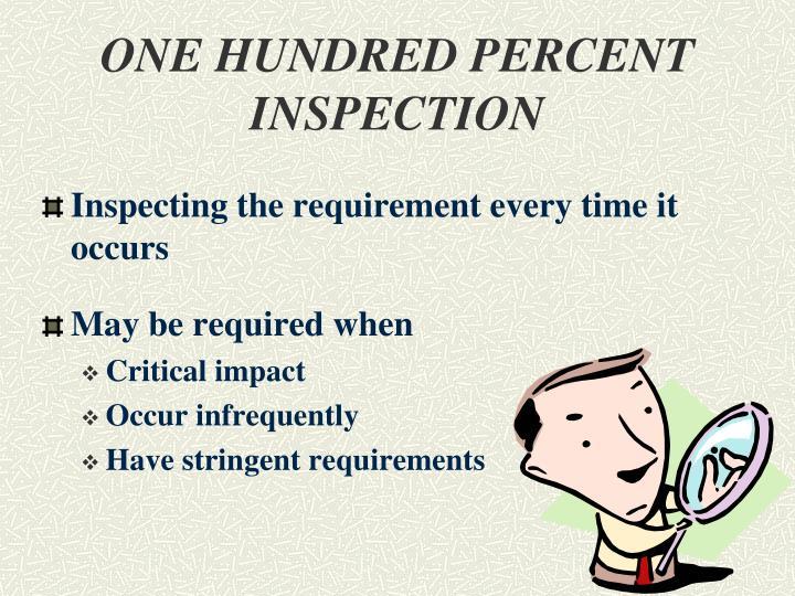 ONE HUNDRED PERCENT INSPECTION