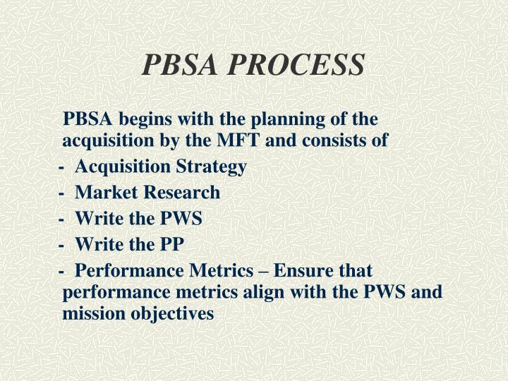 PBSA PROCESS