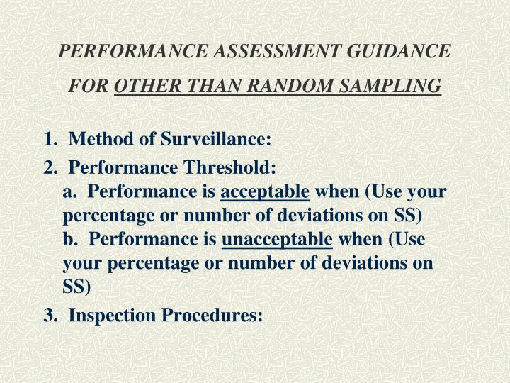 PERFORMANCE ASSESSMENT GUIDANCE FOR