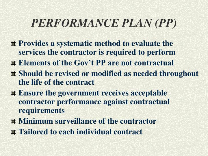 PERFORMANCE PLAN (PP)
