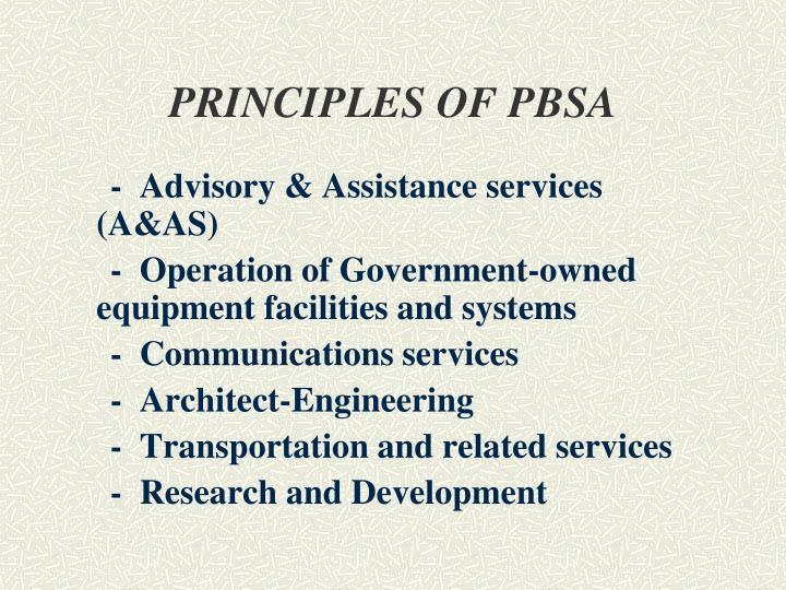 PRINCIPLES OF PBSA