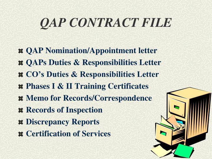 QAP CONTRACT FILE