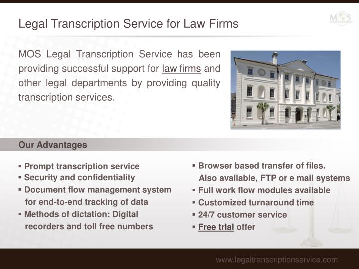 Legal transcription service for law firms