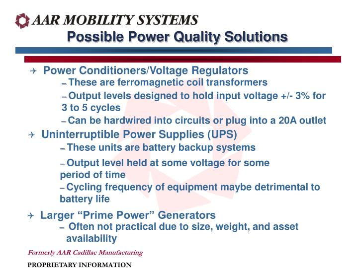 Possible Power Quality Solutions
