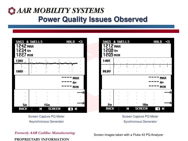 Power Quality Issues Observed